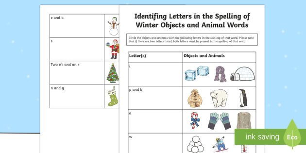 Identifying Letters in the Spelling of Winter Objects and Animal Words Activity