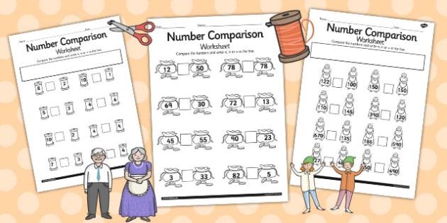 The Elves and the Shoemaker Number Comparison Worksheets - sheet