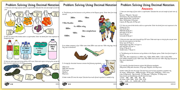 Problem Solving Using 4 Operations Decimals and Scaling Differentiated Activity Sheet Pack - activity, worksheet