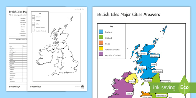 British Isles Major Cities Map Worksheet Activity Sheet