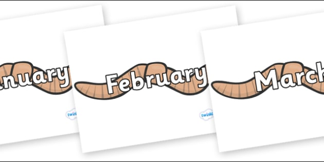 Months of the Year on Worms - Months of the Year, Months poster, Months display, display, poster, frieze, Months, month, January, February, March, April, May, June, July, August, September