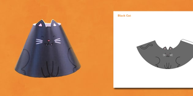 Halloween Cone Characters Black Cat - halloween, cat, cone, craft