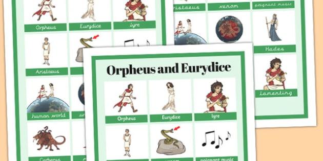 Orpheus and Eurydice Vocabulary Mat - orpheus, eurydice, mat