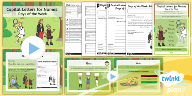 PlanIt Y1 SPaG Lesson Pack: Capital Letters for Names: Days of the Week - planit, year 1, spag