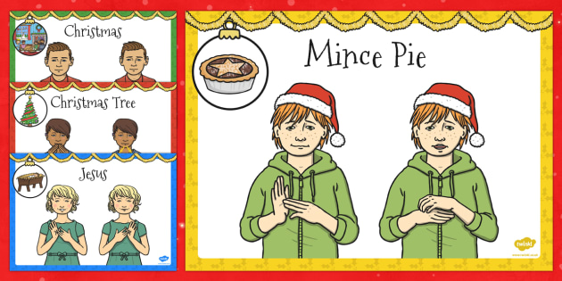 A4 British Sign Language Christmas Sign Display Pack Left Handed