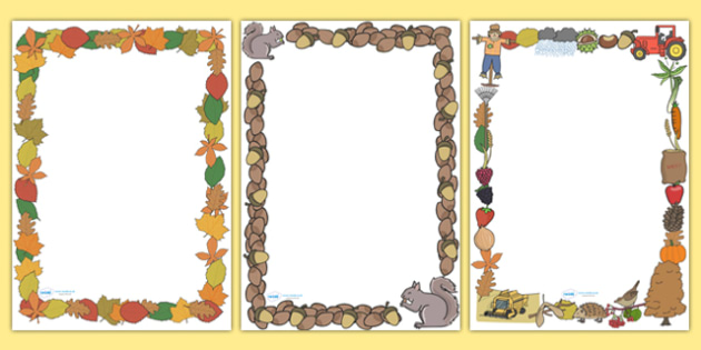 Autumn Page Borders (Full) - Page border, border,  Autumn, seasons, autumn pictures, autumn display, leaves, acorn, conker