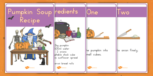 Halloween Pumpkin Soup Recipe Sheets Vegetarian - food, party, instructions, KS1, KS2
