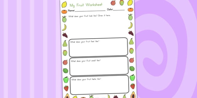Fruits Description Worksheet - fruit, health, healthy eating
