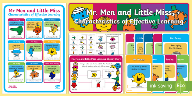 Mr Men and Little Miss Characteristics of Effective Learning Display Pack - EYFS, Early Years, Characteristics of Effective Learning, CoEL, Active Learning, Playing and Explori