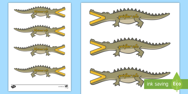 Kleiner und Größer als Krokodile - rechnen, Mathematik, Mathe
