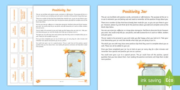 Positivity Jar Worksheet Teacher Made