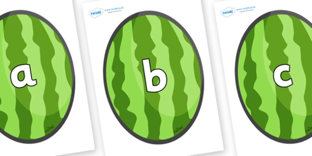 Phase 2 Phonemes on Melons (Vertical) - Phonemes, phoneme, Phase 2, Phase two, Foundation, Literacy, Letters and Sounds, DfES, display