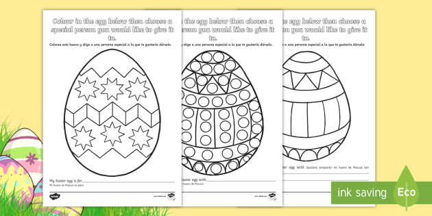 NEW Easter Egg Sharing Colouring Pages English Spanish