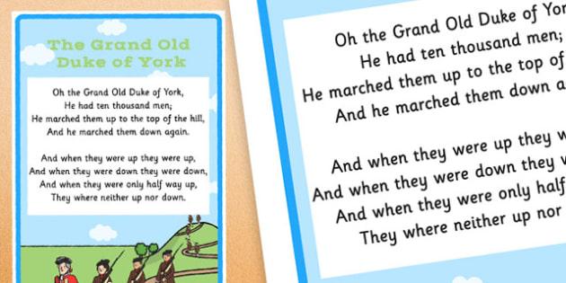 The Grand Old Duke of York Nursery Rhyme Poster - rhymes, display