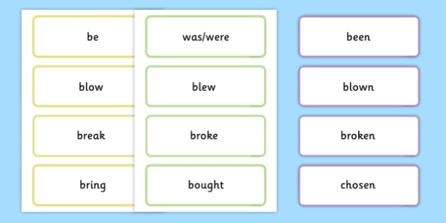 Irregular Verbs - Base Form, Past Simple and Past Participle