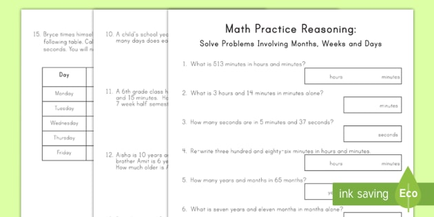 Fourth Grade Months Weeks And Days Problem Solving Activity Sheets