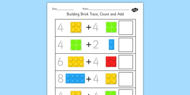 Building Brick Trace Count and Add Worksheet - Worksheets, Adding