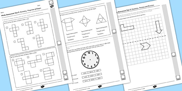 Year 5 Maths Assessment Geometry Term 1 - assessments, math, assess, Autumn Term Maths Assessment