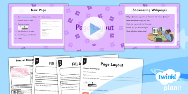 Computing: Internet Research and Webpage Design: Page Layout Year 5 Lesson Pack 2