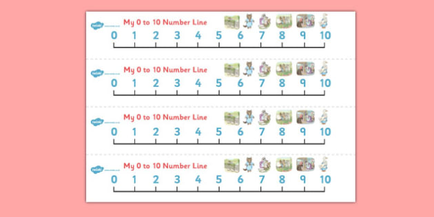 Beatrix Potter - The Tale of Tom Kitten Number Lines 0-10 - beatrix potter, tom kitten