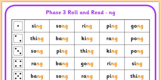 Phase 3 ng Phoneme Roll and Read Mat - phase 3, roll, read, mat