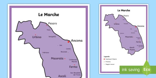 Cartina Politica Marche Italia.Scuola Primaria Le Marche Cartina Politica Teacher Made