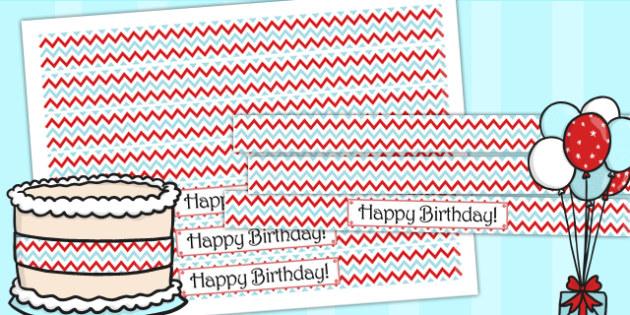 Zig Zag Birthday Party Cake Ribbon Red And Blue - birthday, party