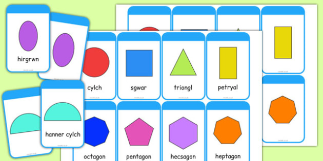 2D Shape Cards Cymraeg - cymreag, welsh, 2d shape, cards, 2d, shape, maths, numeracy