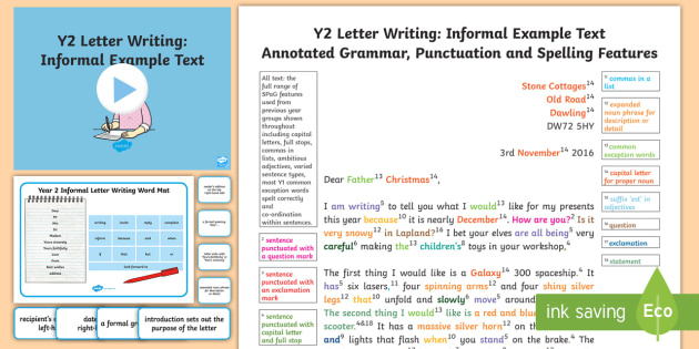 Y2 Letter Writing Informal Model Example Text Example Texts Y2