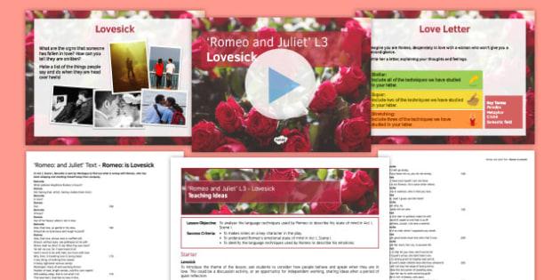 Romeo and Juliet L3 Pack - Romeo and Juliet, Romeo, Benvolio, love, unrequited love, language, paradox, metaphor, rhyme, cliche, semantic field
