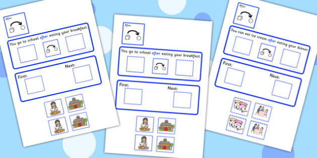 After Cards Cut And Stick Activity With Sequencing Strip - order