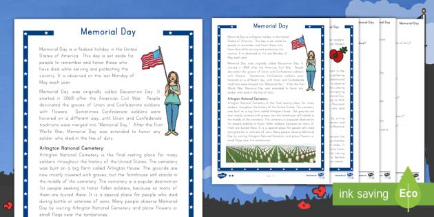 Memorial Day Differentiated Reading Comprehension Activity -  servicemen, servicewomen, commemoration, veterans, USA, celebrations