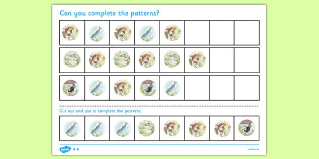 Beatrix Potter - The Tale of Mr Jeremy Fisher Complete the Pattern Worksheets - beatrix potter, jeremy fisher