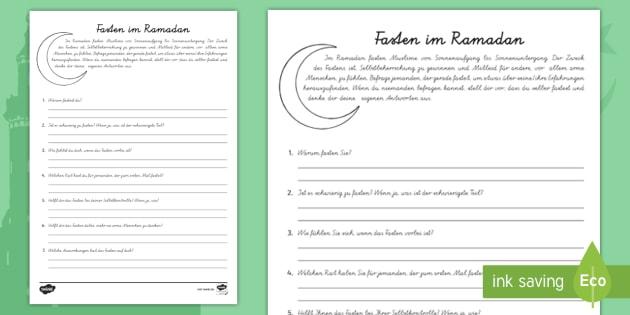 NEW * Ramadan Interview Arbeitsblatt - Islam, Religion