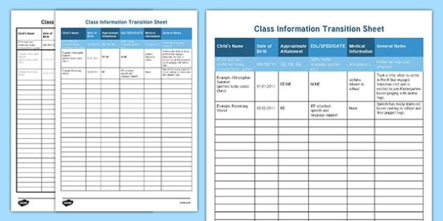 Class Information Transition Sheet
