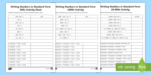 Writing Numbers In Standard Form Differentiated Worksheet