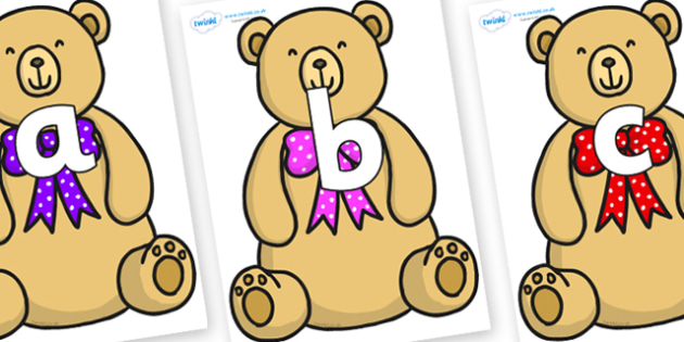 Phoneme Set on Bow Tie Teddy - Phoneme set, phonemes, phoneme, Letters and Sounds, DfES, display, Phase 1, Phase 2, Phase 3, Phase 5, Foundation, Literacy