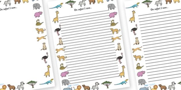 On Safari I Saw' Writing Frames - safari, on safari, safari writing frames, on safari I saw, on safari I saw template, safari page borders