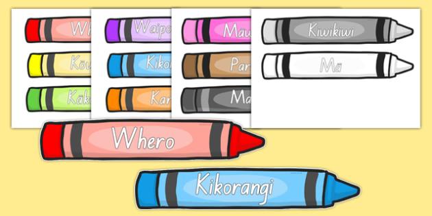 Colour Words on Crayons Māori - colours, rainbow, vocabulary, te reo, nz, new zealand, languages, art, design, creative