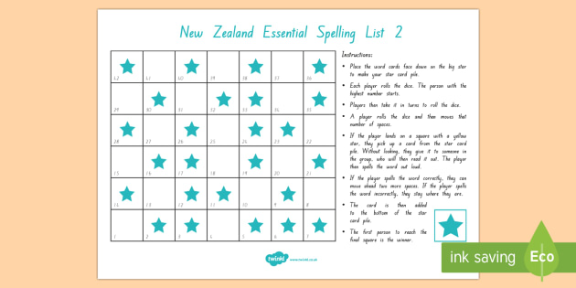 New Zealand Essential Spelling List 2 Board Game - Literacy, spelling, essential list, list 2, nz, new zealand
