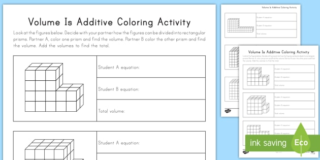 Volume Is Additive Coloring Activity Volume Cube Cubic Rectangular