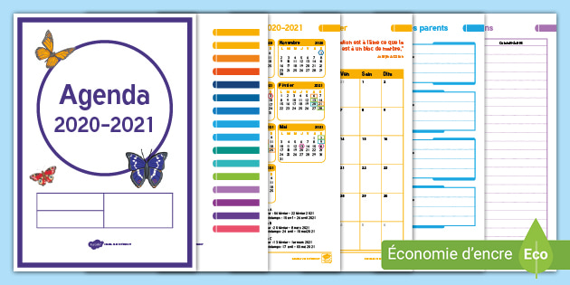 FREE!   Agenda pour enseignants 2020 2021 (teacher made)
