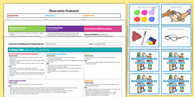 Interest Area Editable Continuous Provision Plan and Challenge Cards Pack Reception FS2