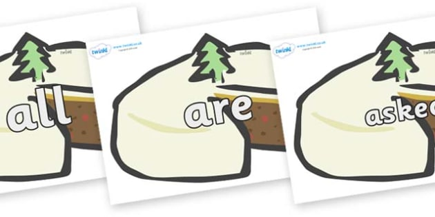 Tricky Words on Christmas Cake - Tricky words, DfES Letters and Sounds, Letters and sounds, display, words