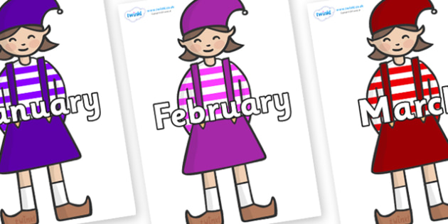 Months of the Year on Elf (Girl) - Months of the Year, Months poster, Months display, display, poster, frieze, Months, month, January, February, March, April, May, June, July, August, September