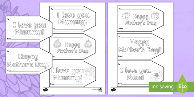 Mothers Day Gift Tag Colouring Pages
