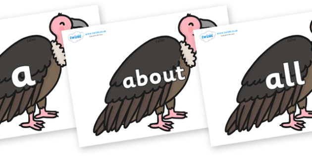 100 High Frequency Words on Vultures - High frequency words, hfw, DfES Letters and Sounds, Letters and Sounds, display words