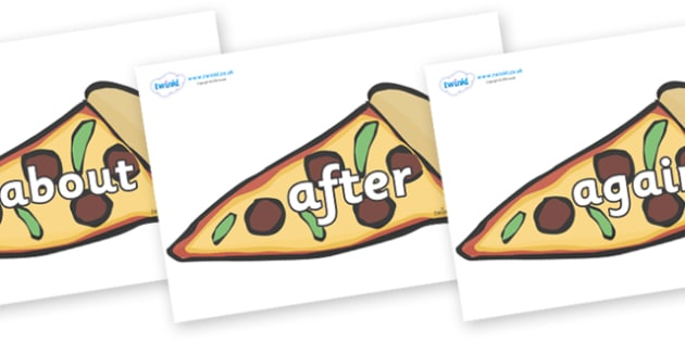 KS1 Keywords on Pizza Slices - KS1, CLL, Communication language and literacy, Display, Key words, high frequency words, foundation stage literacy, DfES Letters and Sounds, Letters and Sounds, spelling