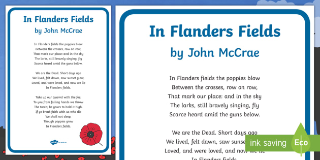 In Flanders Fields Poster Remembrance Day Poems Twinkl