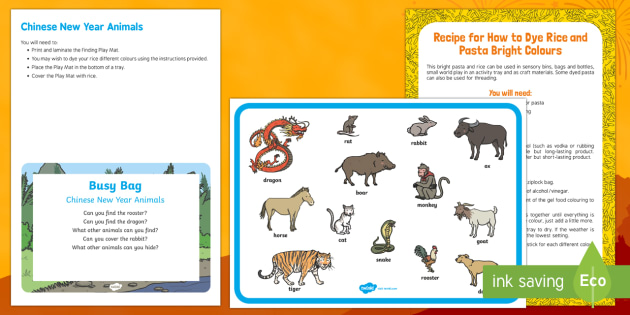 Chinese New Year Animals Finding Busy Bag Prompt Card and Resource Pack - Chinese New Year, animals, rice, baby, sensory, babies